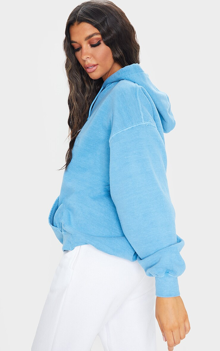Petrol Blue Washed Oversized Hoodie 2