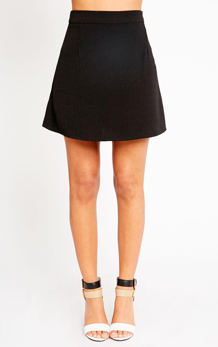 Rori Black Crepe A Line Mini Skirt 2