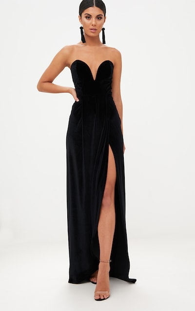 Black Velvet D Wrap Detail Bandeau Maxi Dress