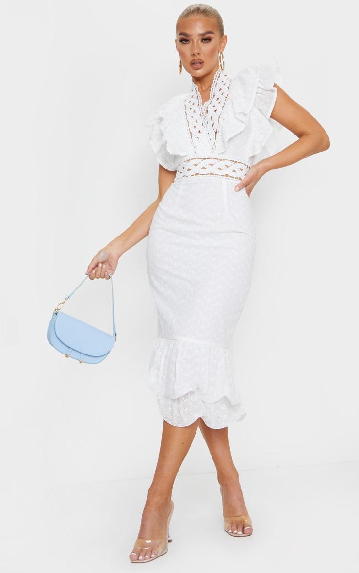 White Broderie Anglaise Trim Detail Midi Dress 1