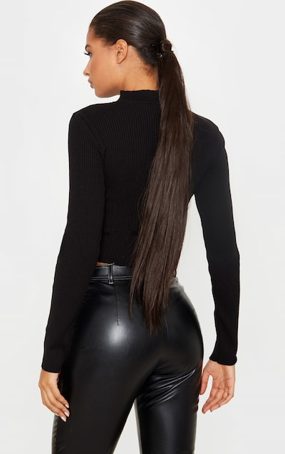 Black High Neck Zip Front Rib Knit Top
