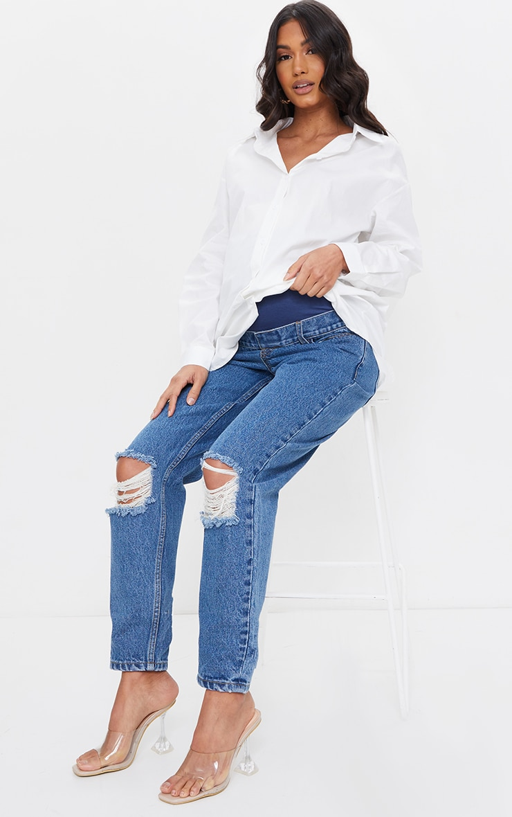 Maternity Blue Mid Wash Ripped Knee Mom Jeans 1