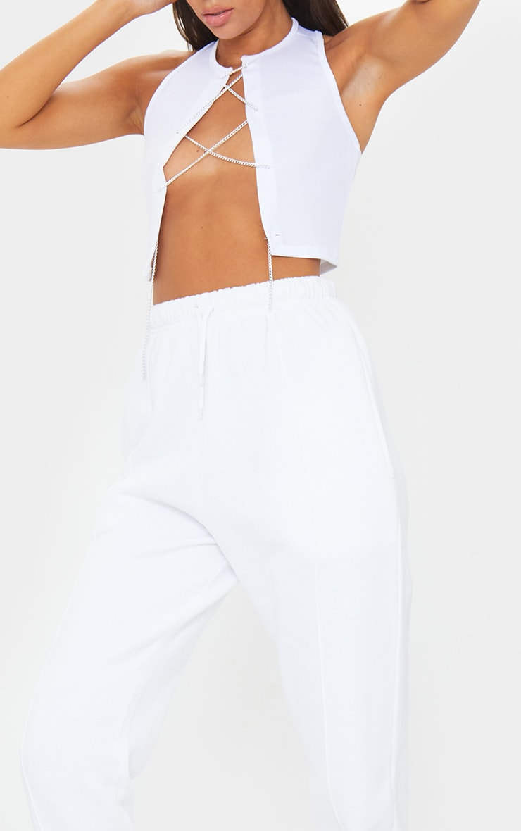 White Seam Front Detail Joggers 4