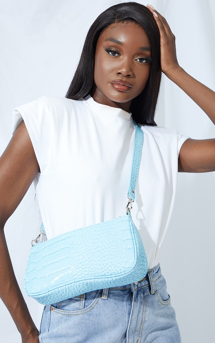 Blue Croc Shoulder Bag 1