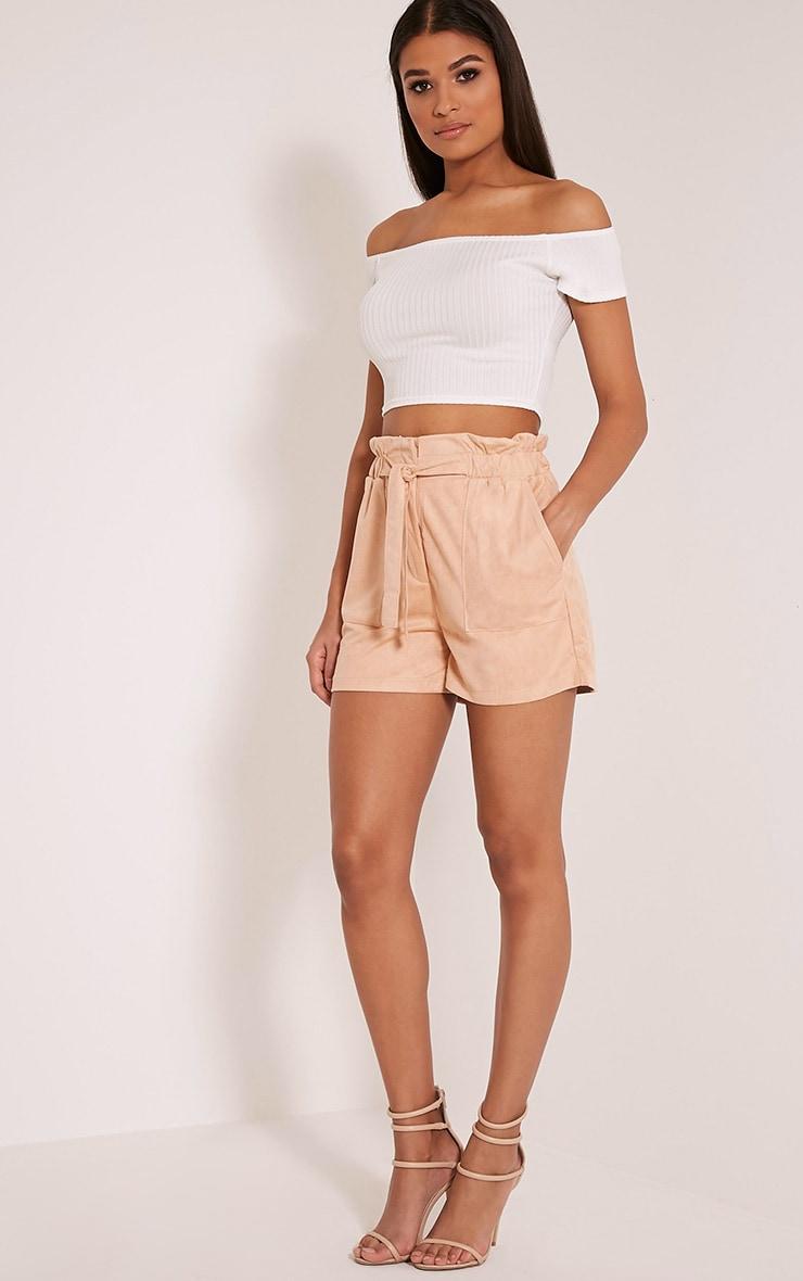 Trudy Peach Faux Suede Shorts 6