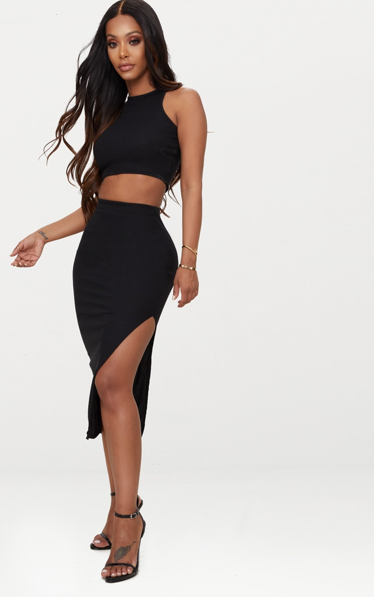Shape Black Ribbed Sleeveless Crop Top 3