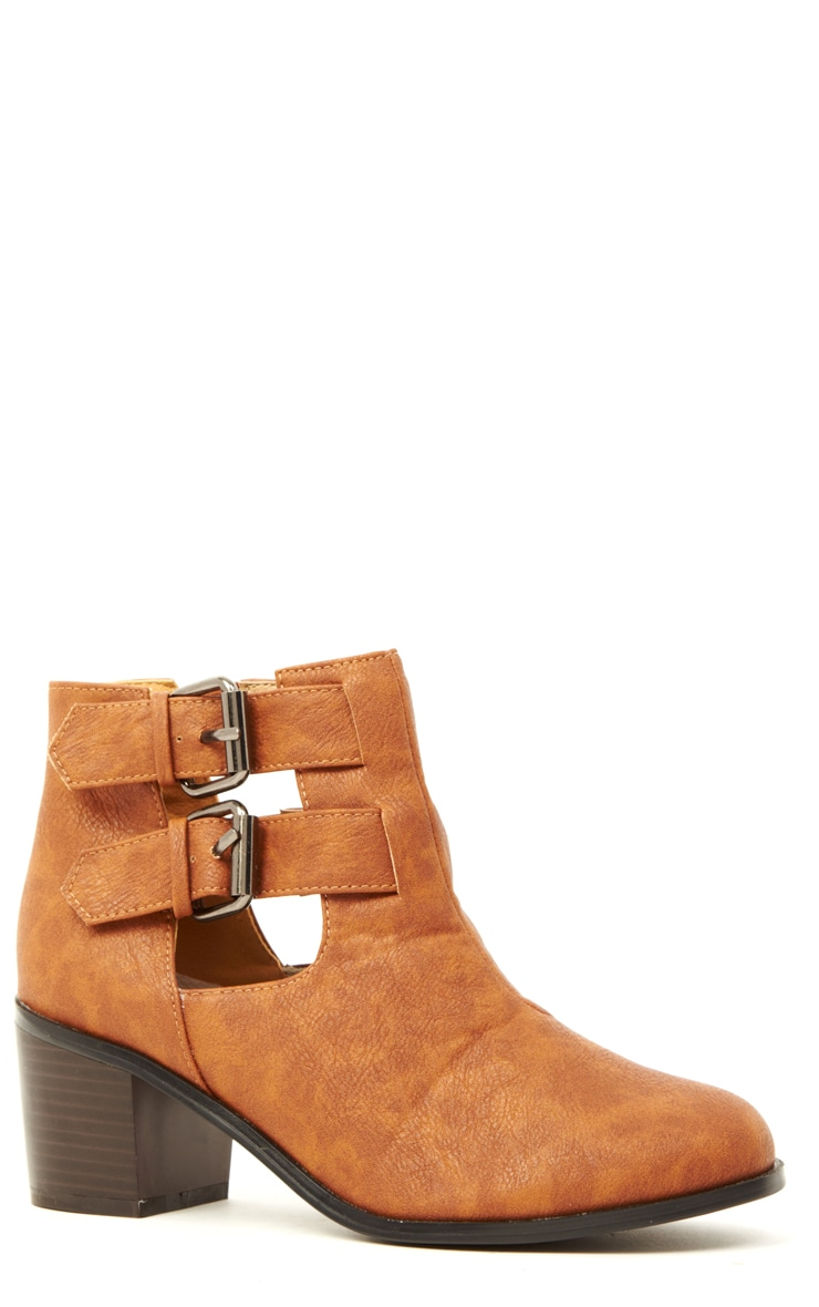 Enya Tan Leather Cut Out Ankle Boots  3