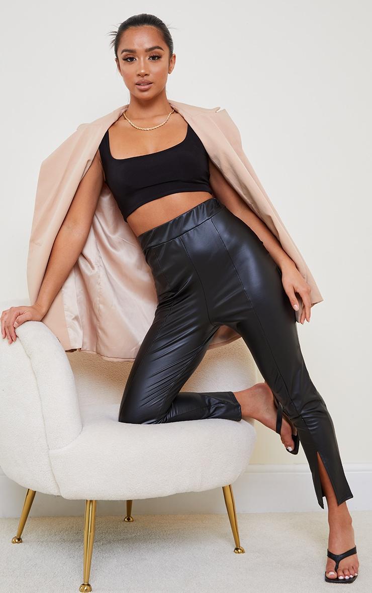 Petite Black Cropped Split Hem Pu Trouser 1