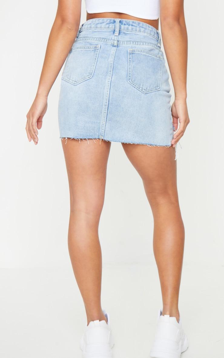 Petite Light Blue Wash Distressed Mini Denim Skirt 3