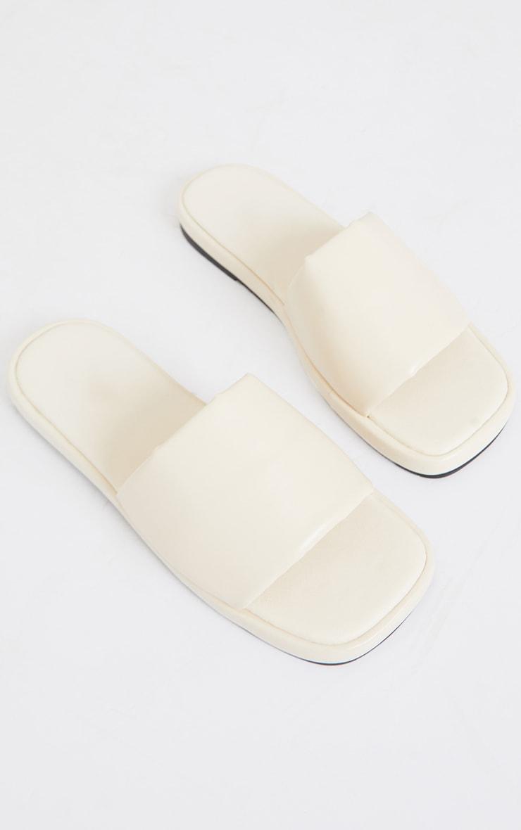 Cream PU Square Toe Mule Flat Sandals 3