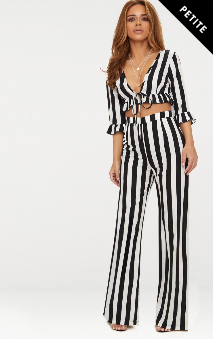 Petite Black Monochrome Stripe Wide Leg Trousers 1