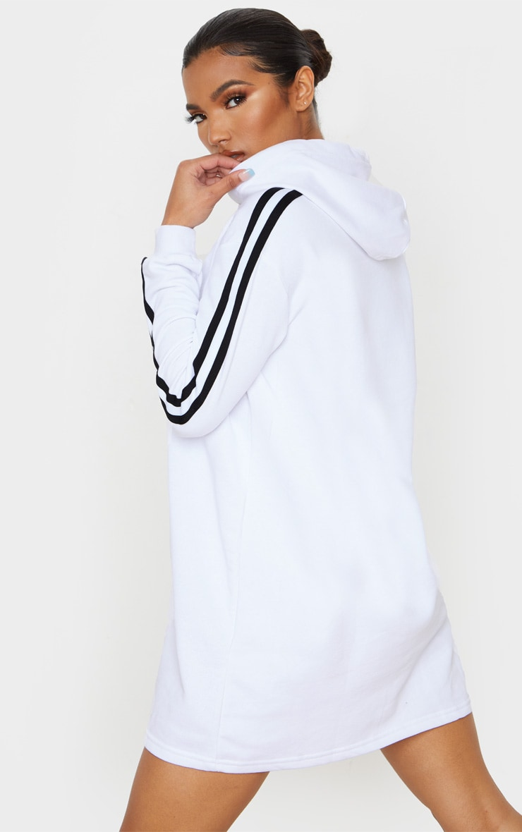 White Tape Detail Long Sleeve Hoodie Dress 2
