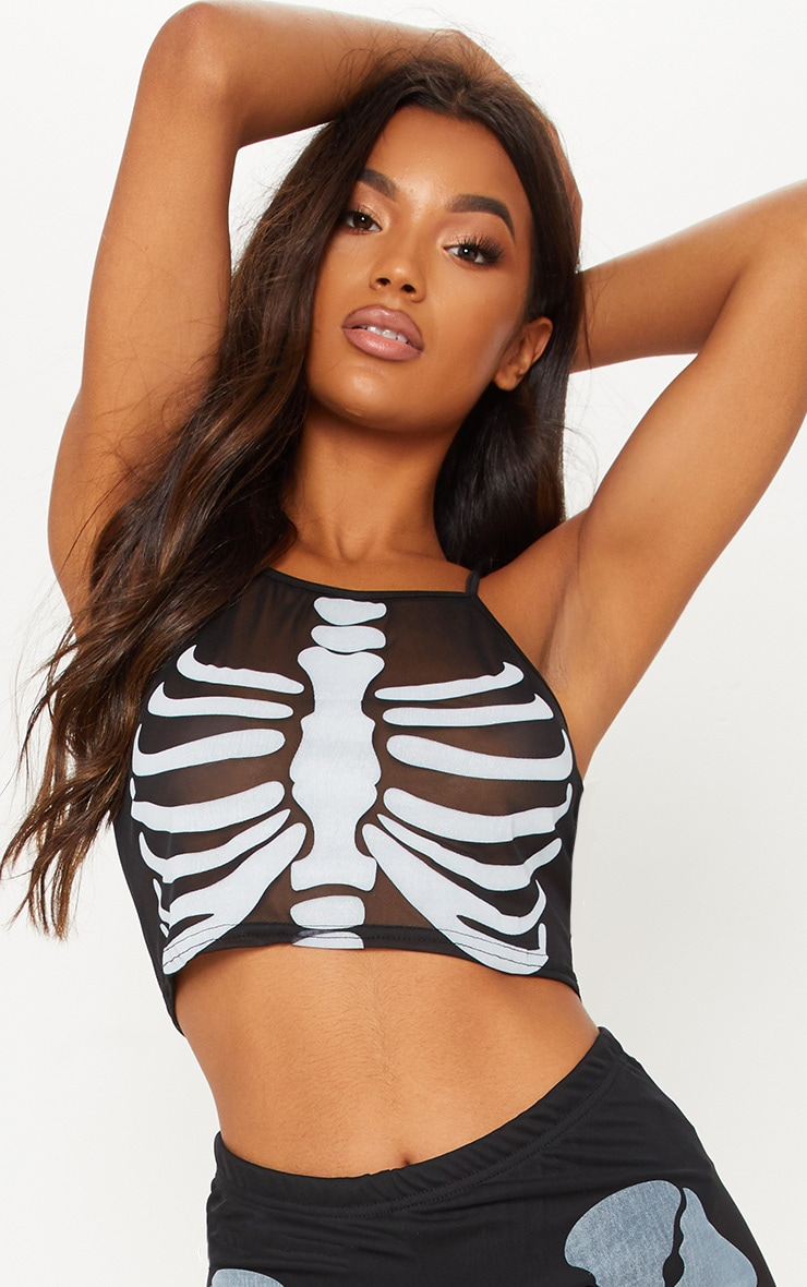 Grey Skeleton Print Racer Neck Crop Top