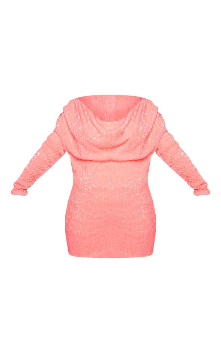 Neon Pink Sequin Long Sleeve Cowl Neck Bodycon Dress 3