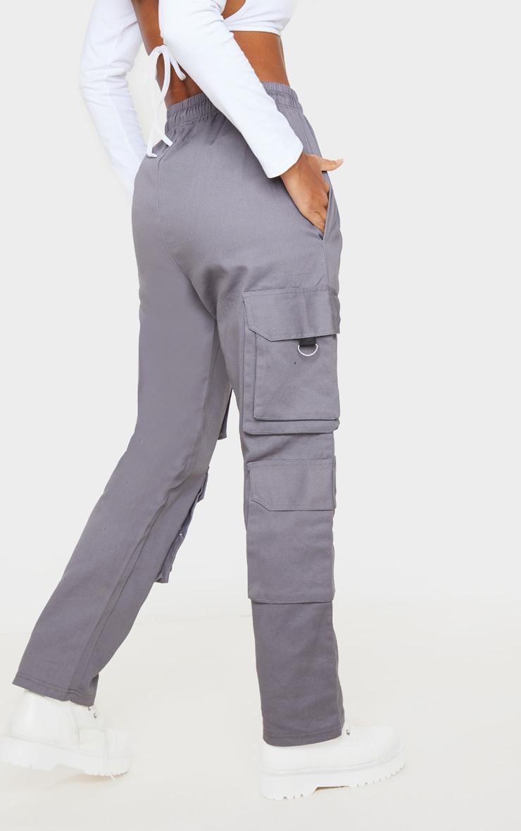 Grey Twill Oversized Utility Pants 4