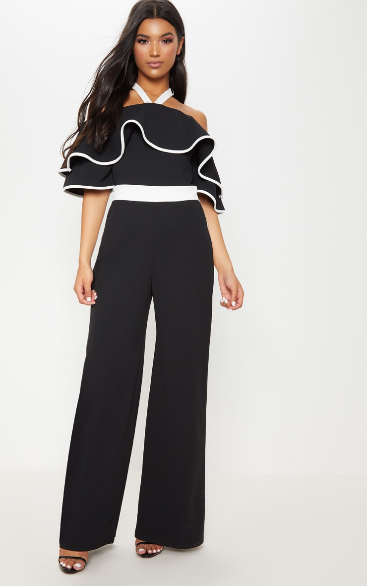 Mono Contrast Cold Shoulder Jumpsuit 1