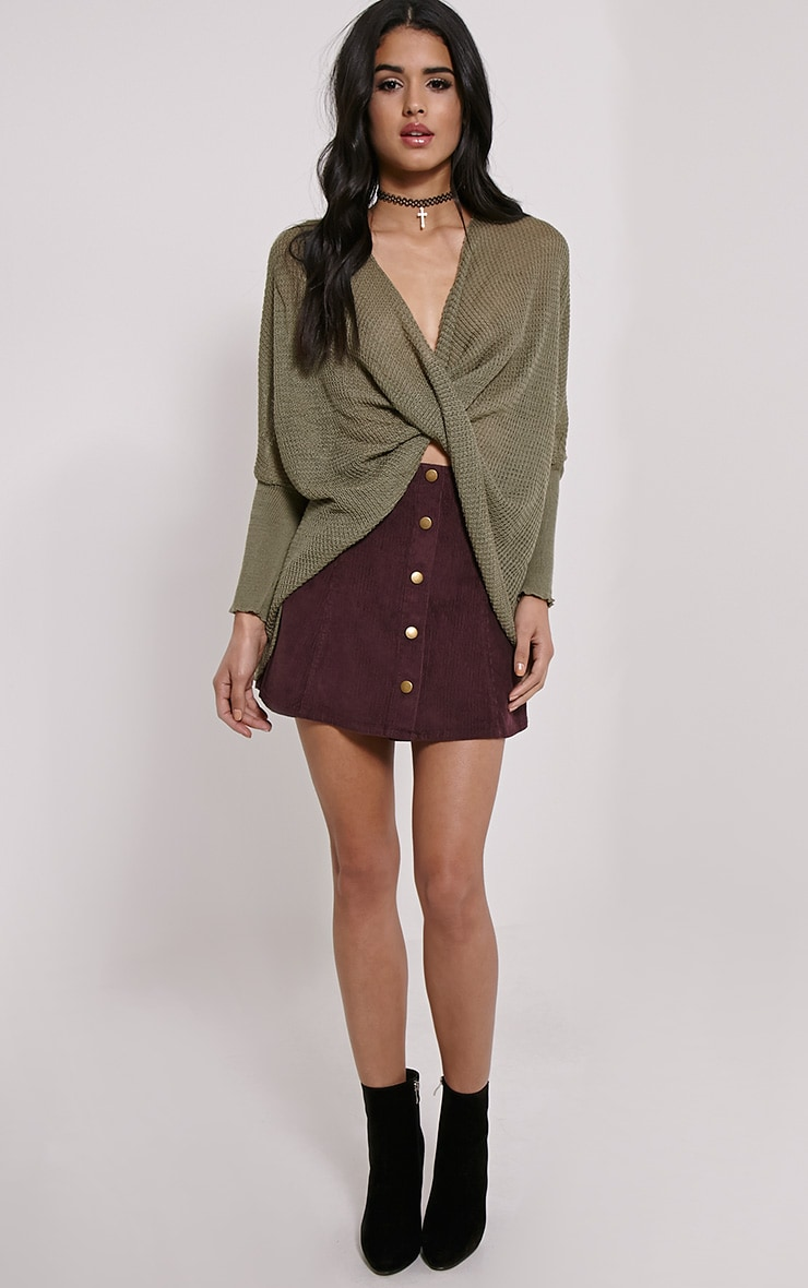 Lynix Khaki Twist Front Knitted Top 3