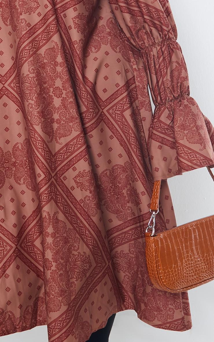 Plus Rust Printed High Neck Puff Sleeve Dress 4