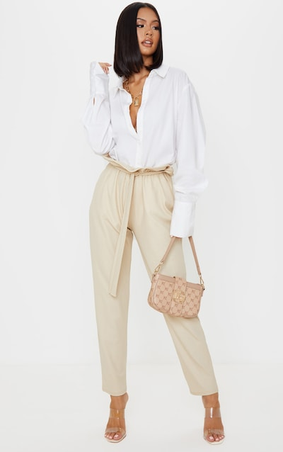 Stone Coated Paperbag Waist Trouser