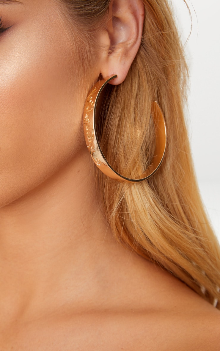 Gold Script Chunky Hoop Earrings 1