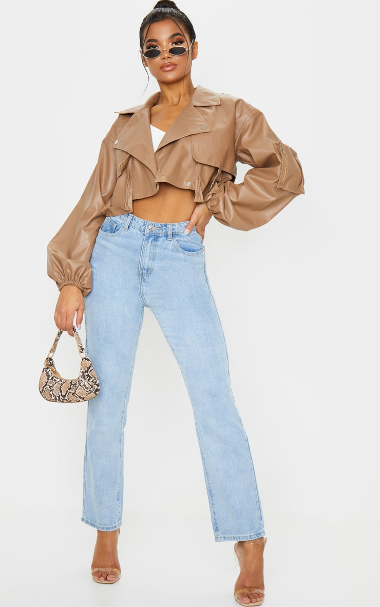 Tan Faux Leather Crop Biker Jacket