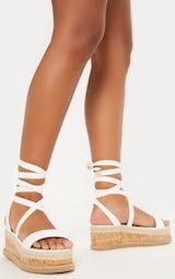 da3189b1b71 Jacey White Espadrille Flatform Sandals - Flats - PrettylittleThing ...
