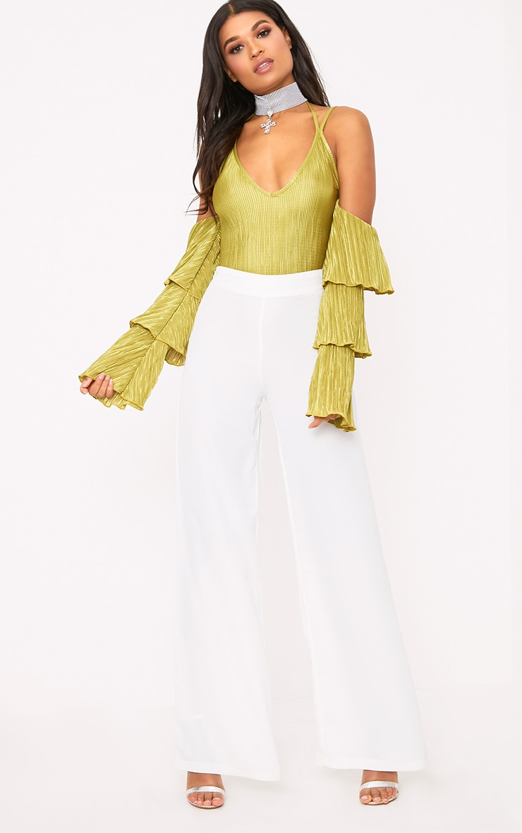 Lime Pleated Frill Sleeve Cold Shoulder Thong Bodysuit 4