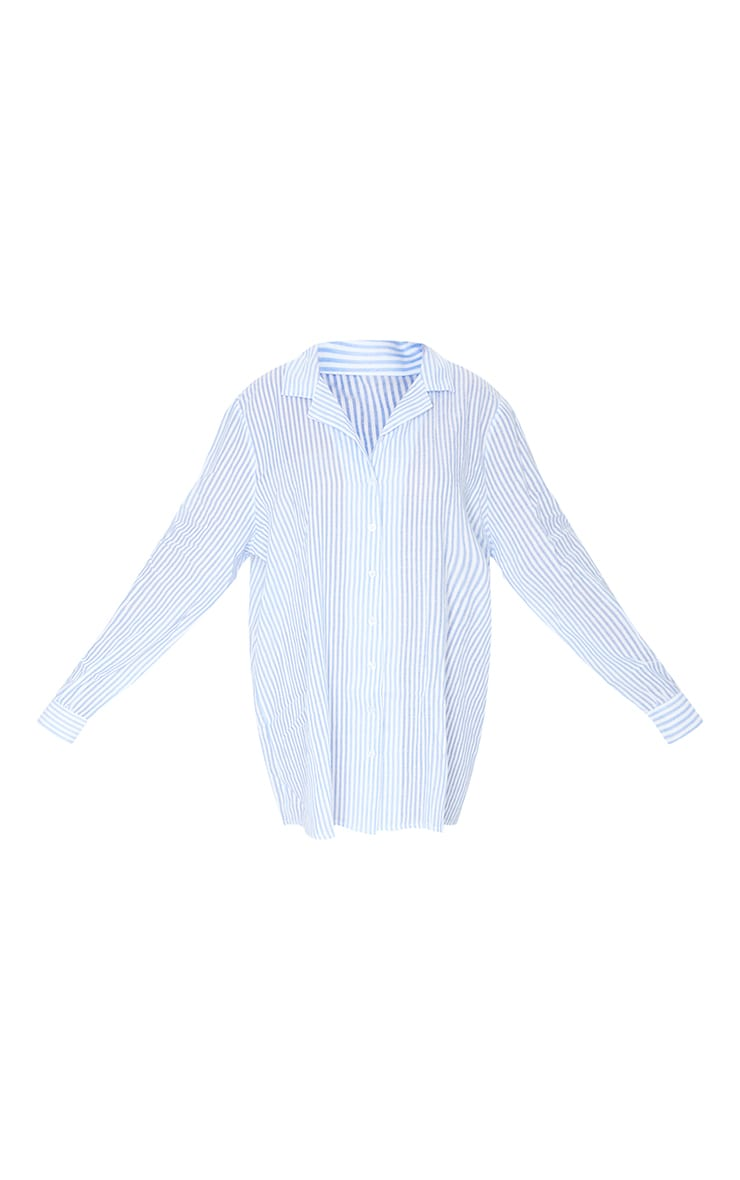 Blue Striped Open Collar Cotton Oversized Nightshirt With Scrunchie 5