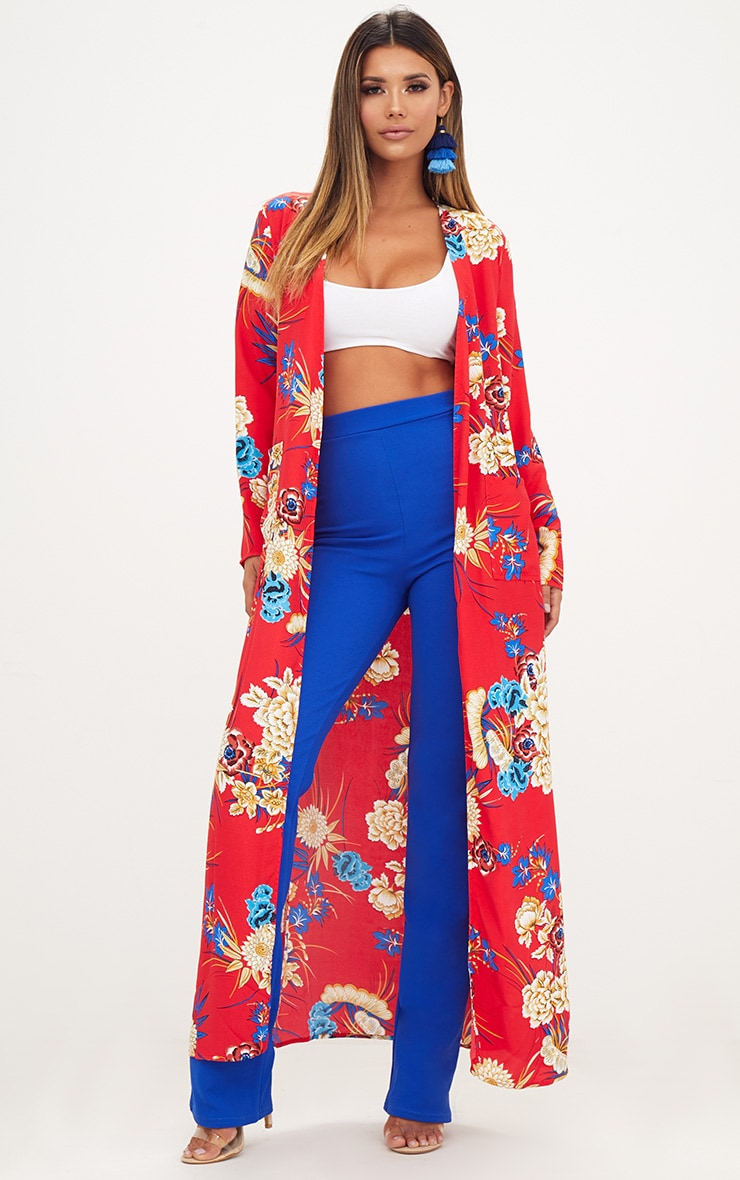 Red Floral Maxi Duster 1