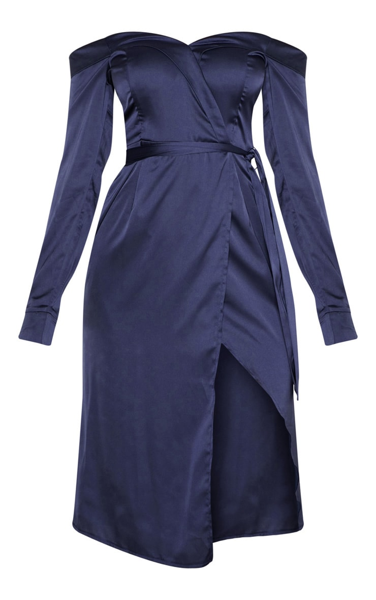 Navy Satin Bardot Lapel Detail Wrap Midi Dress 3