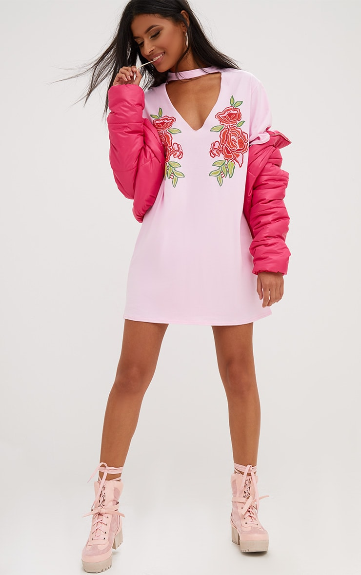 Pink Cut Out Puff Print T Shirt Dress 1