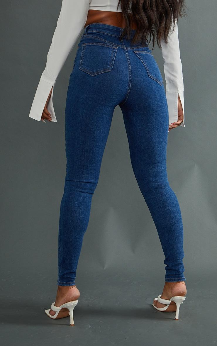 PRETTYLITTLETHING Mid Blue 5 Pocket Skinny Jeans 3