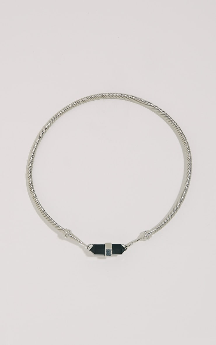 Cleo Silver Black Stone Cable Necklace 1