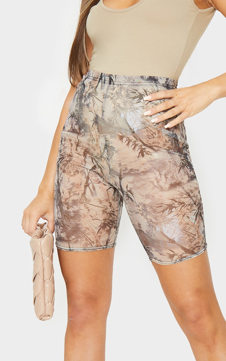 Nude Washed Oriental Print Mesh Cycle Shorts 5