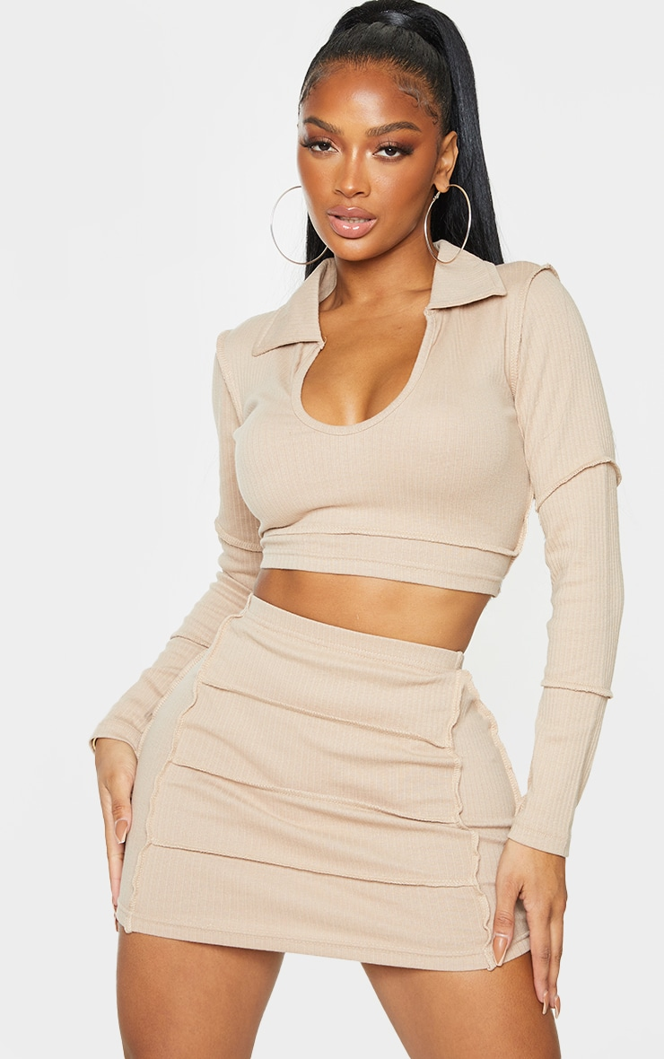 Shape Stone Rib Panel Bodycon Skirt 4