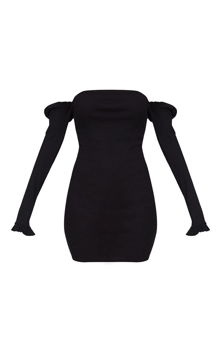 Black Ribbed Frill Bardot Bodycon Dress  3