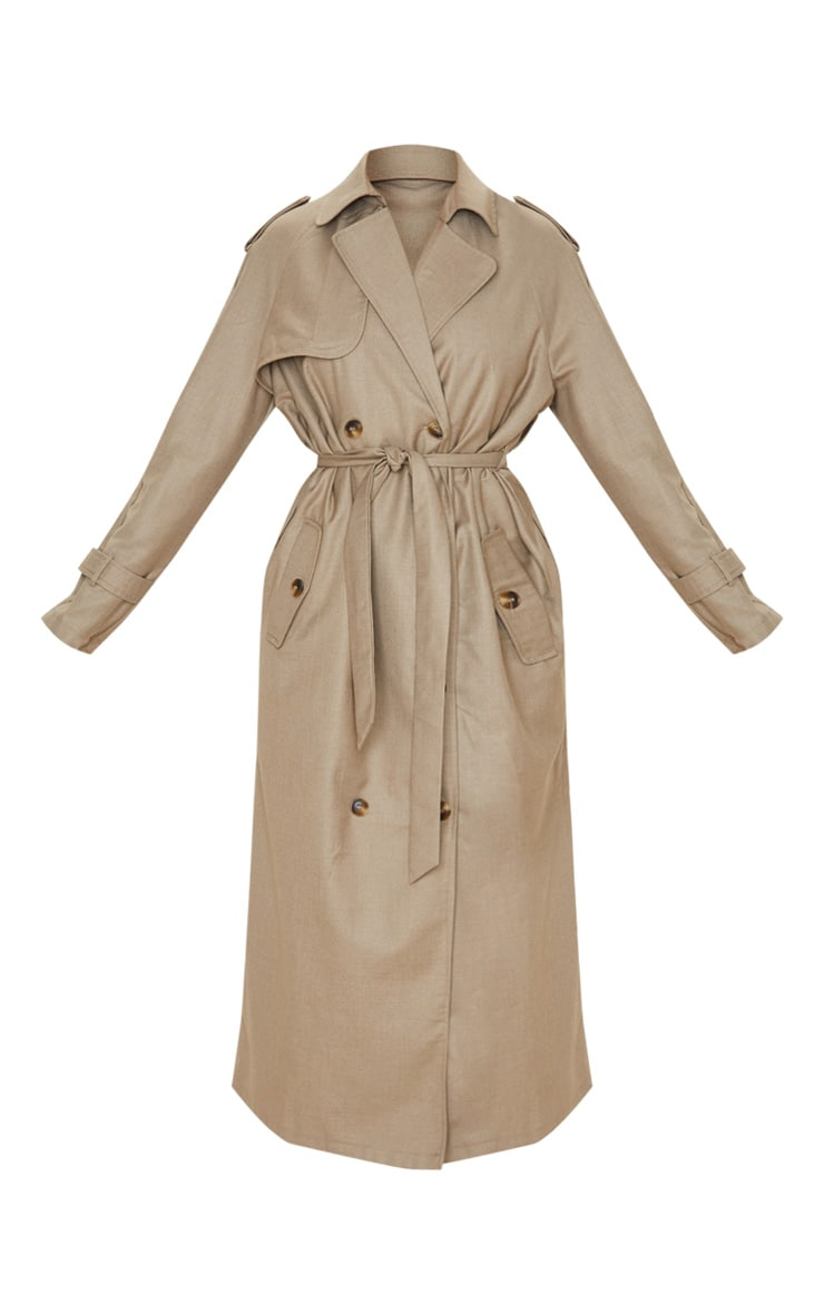Stone Woven Oversized Trench Coat 3
