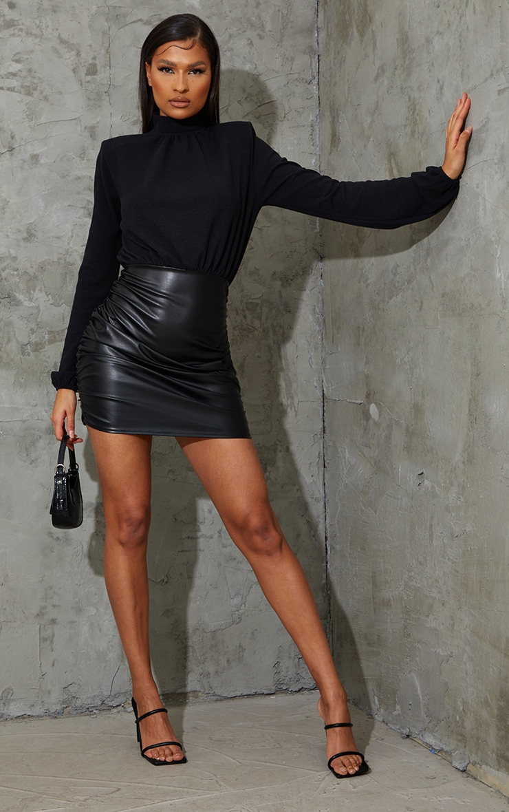 Black PU Ribbed Bodice Ruched Bodycon Dress 3