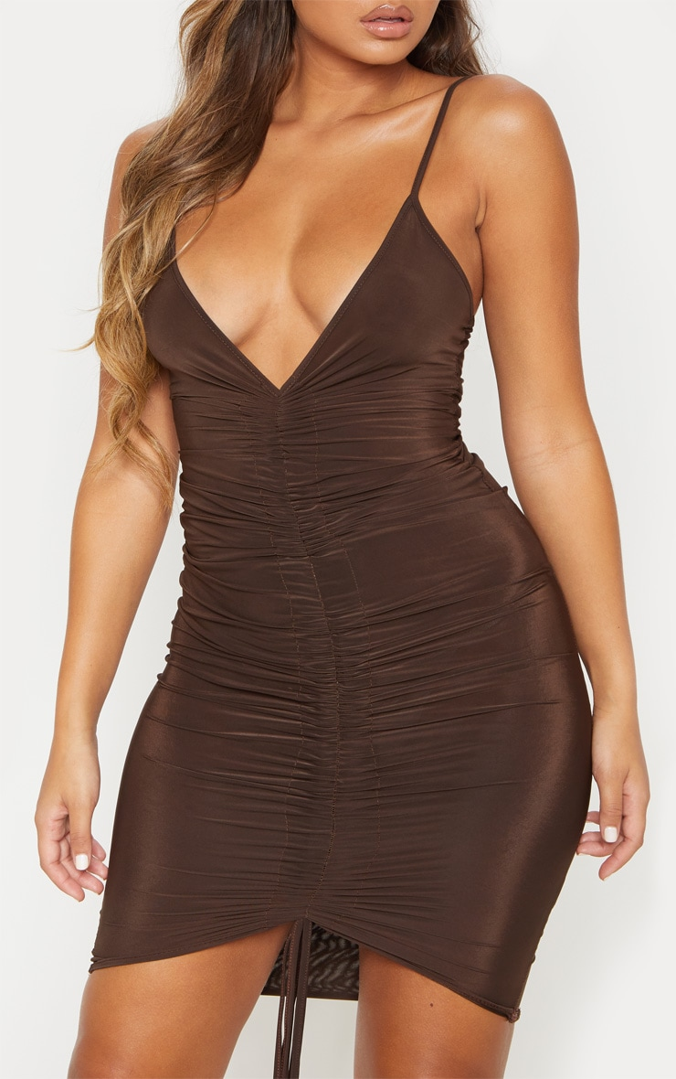 Chocolate Brown Ruched Front Midi Dress 6