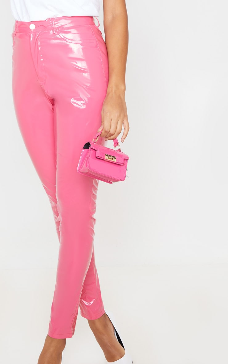 Hot Pink Button Front Vinyl Skinny Pants 5