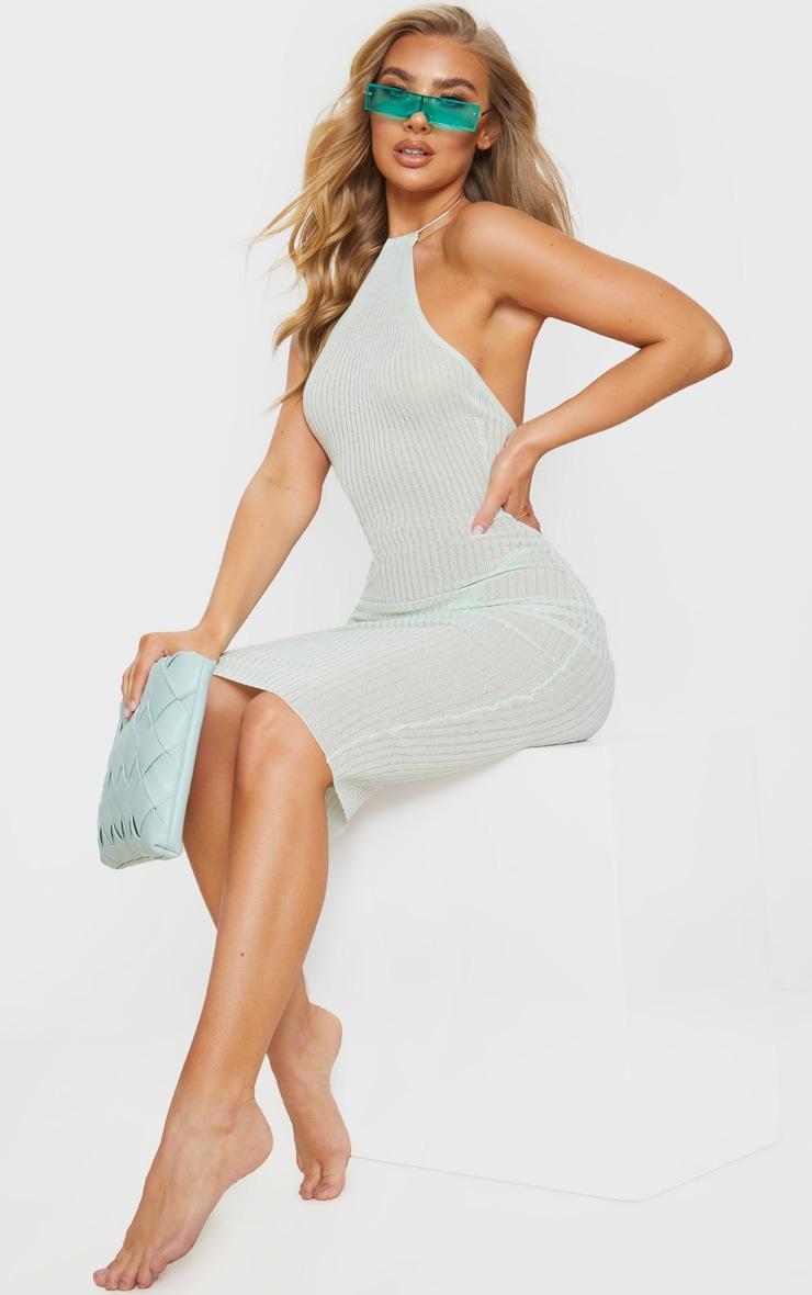 Mint Fine Knit Halterneck Midi Dress 1