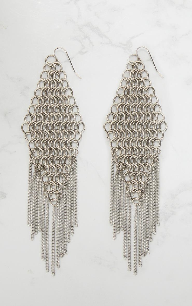 Silver Chainmail Drop Earrings 3