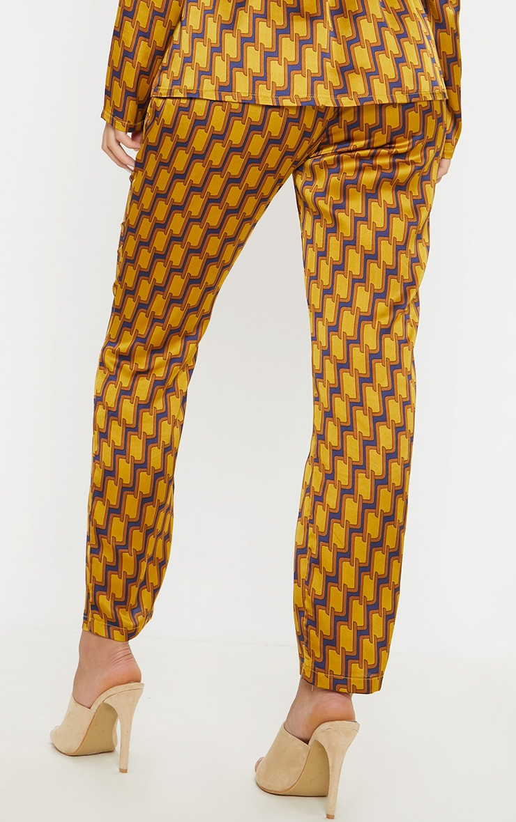 Mustard Satin Printed Straight Leg Trouser 4
