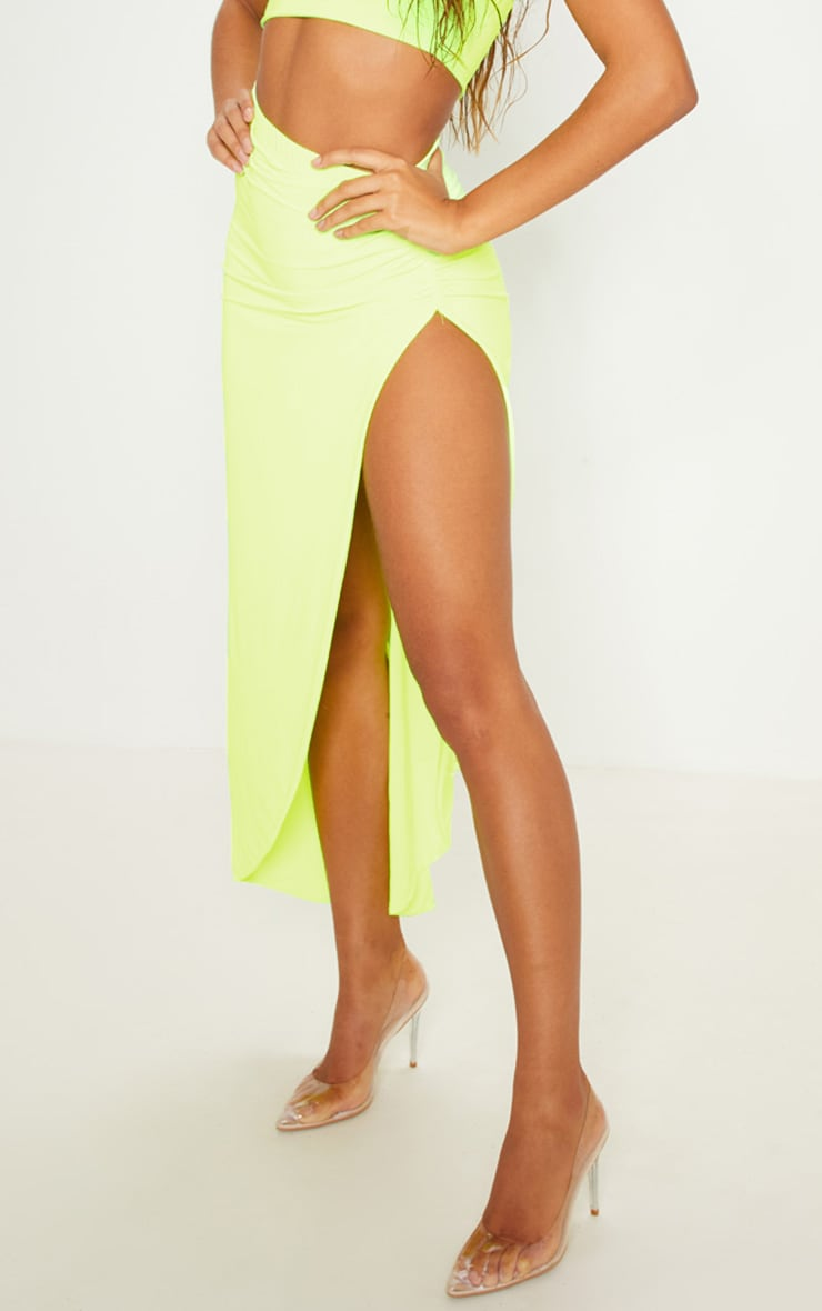 Neon Yellow One Shoulder Crop Top 5