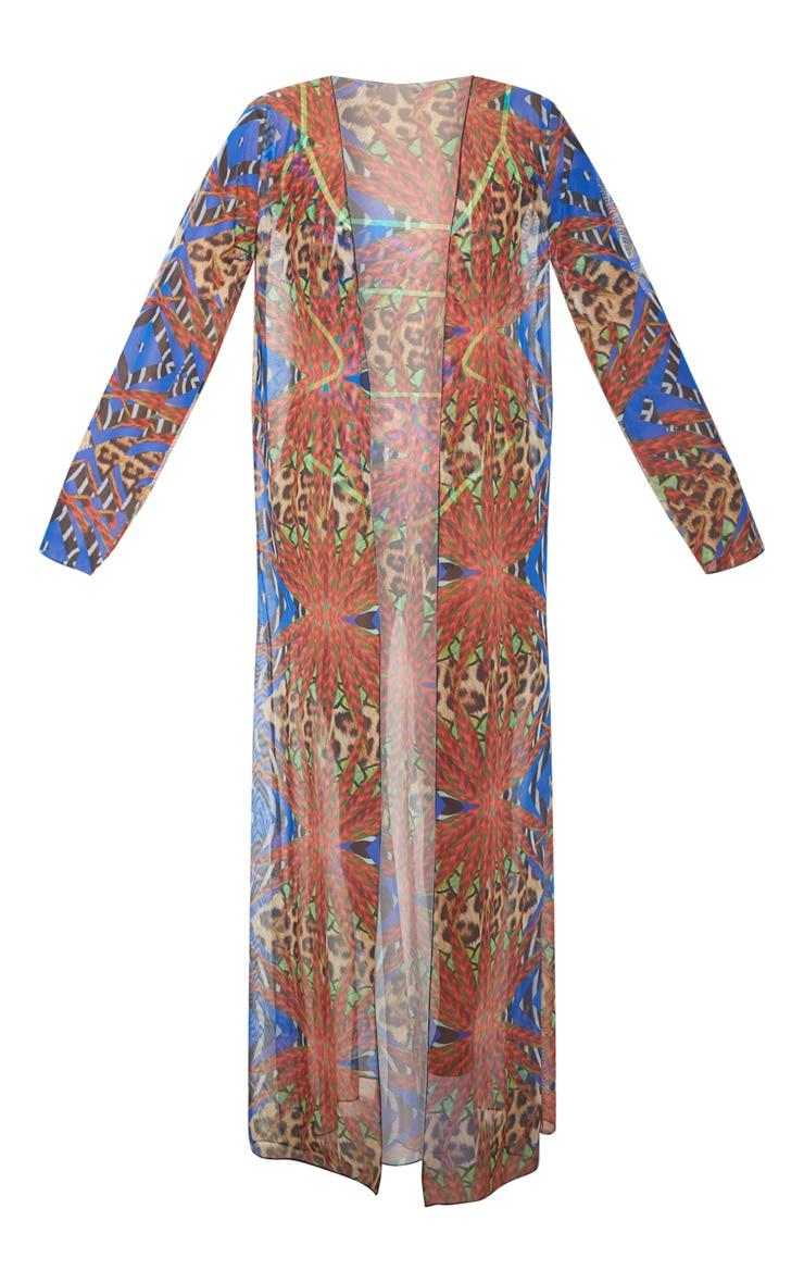 Multi Mixed Jungle Print Mesh Kimono 4