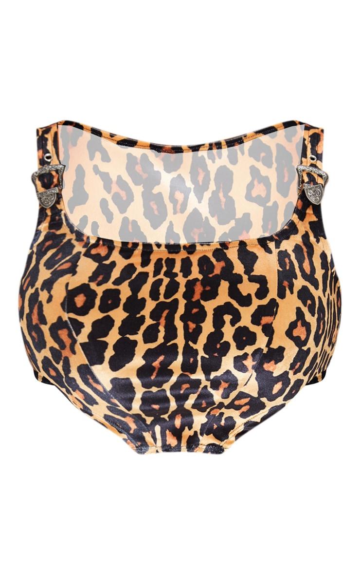 Crop top léopard à détail boucles et ourlet incurvé 3