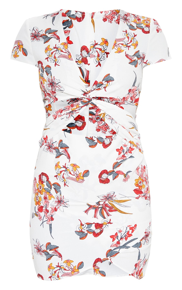 White Floral Printed Twist Front Tea Dress 3