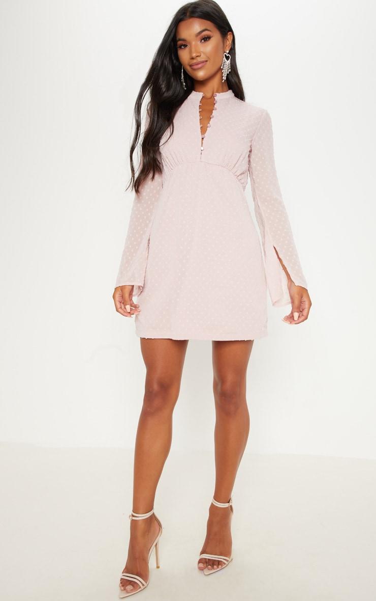 Dusty Pink Textured V Neck Skater Dress
