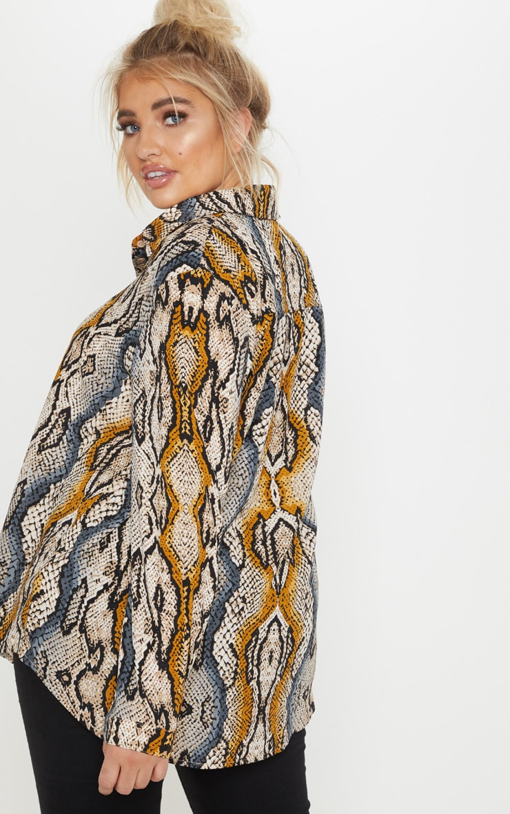 Plus Stone Snake Print Oversized Shirt 2