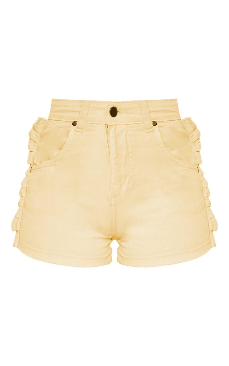 Yellow Ruffle Denim Shorts 4